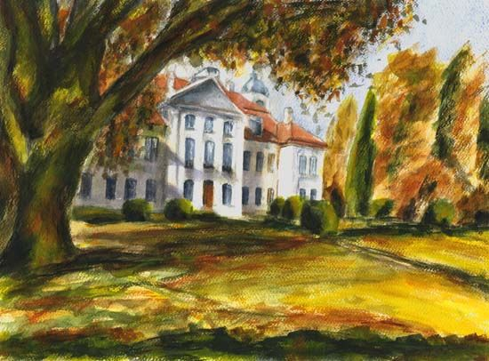 KOZŁÓWKA Pałac Zamoyskich oryginał akwarela 34x46; Ida Berger