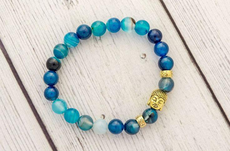 Achat - Blau Buddha - blaue Achat Armband - ein Designerstück von cityzencharms bei DaWanda