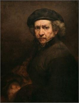 렘브란트, <베레모와 옷깃을 세운 자화상>, 1659  부와 명예를 누렸던 렘브란트는 점점 곤궁해지다가 1656년 파산을 하게 되었다. 집과 작품, 수집품들을 처분해야 했고, 자기 그림을 마음대로 팔 수도 없었던 경제적 상황에서 가족과 명예마저 잃어갔다.   말년의 10여 년 동안 렘브란트는 정면을 향하고 있는 자화상을 집중적으로 그렸다. 렘브란트는 늙은 자신의 모습을 사실적이고 덤덤하게 그렸으며 이 시기의 자화상들은 좋은 시기의 자화상들보다 더 어두운 배경과 표정을 하고 있다. 운명에 대한 체념, 냉소마저 엿보인다. 렘브란트의 얼굴은 빛을 통해 또렷하지만 그 아래 부분은 배경에 묻혀 그 경계가 흐릿하다.