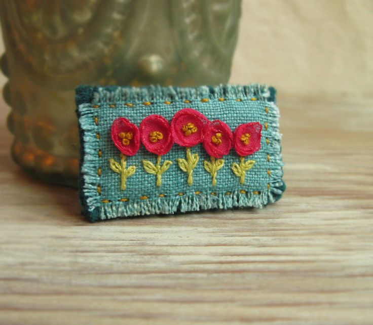 Pink and Teal Floral Embroidered Brooch