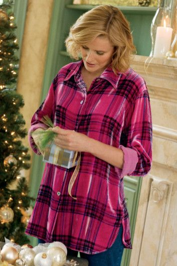 Plaid Velvet Big Shirt - Women's Clothing, Misses Size, Relaxed Fit Velvet Top, Big Shirt | Soft Surroundings