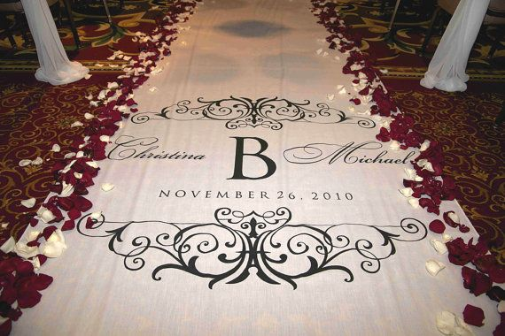 Aisle Runners, Custom Aisle Runners, with Monograms on Quality Fabric that Won't Rip or Tear