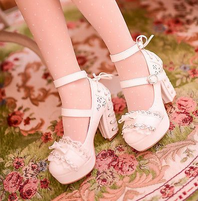 Sweet Candy Women's Lolita Round Toe Bow Mary Jane Block High Heel Shoes US4.5-8