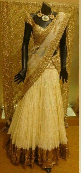 Half white half saree