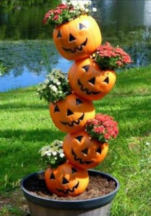 Pumpkin Planter Directions: To Make a Stackable Pumpkin Planter simply drill holes in plastic pumpkins and stack them, alternating the side of the holes for each pumpkin. Aka- bottom pumpkin drill hole to the right of the face, feed through the stake, 2nd pumpkin- drill hole to left of face, feed through the stake to stack, fill with soil/flowers before adding next pumpkin. Make with non-jack pumpkins for full fall decor