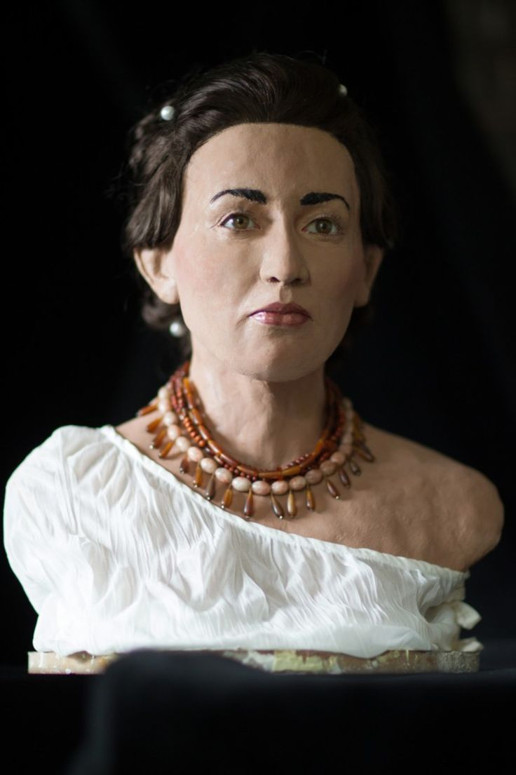 A Philistine woman reconstructed by forensic artists from an 8th century BCE skull found in Israel believed to be a skull of a Philistine woman.
