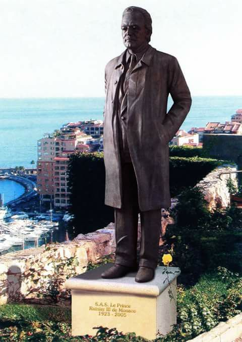 Statue of Prince Rainier overlooking Monte Carlo.