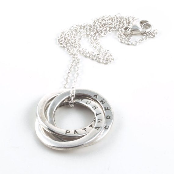 Personalised Mother Necklace with Handstamped Names by  MaaPstudio