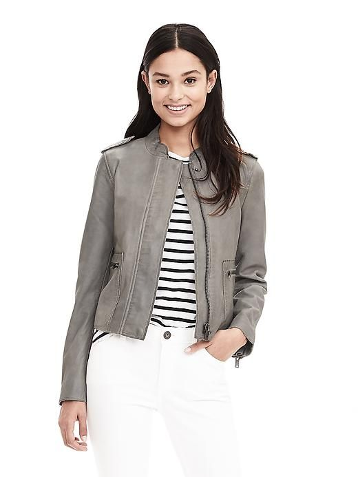 Because every girl needs a Gray Leather Moto Jacket!