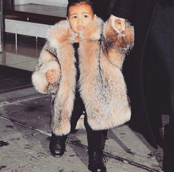 Baby north west style love her coat, winter fashion, nyc, kim kardashian west, kids fashion,  girl fashion, nyfw