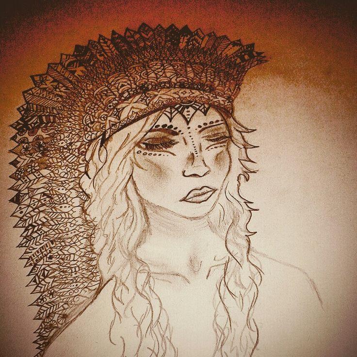 Red Indian mandala girl