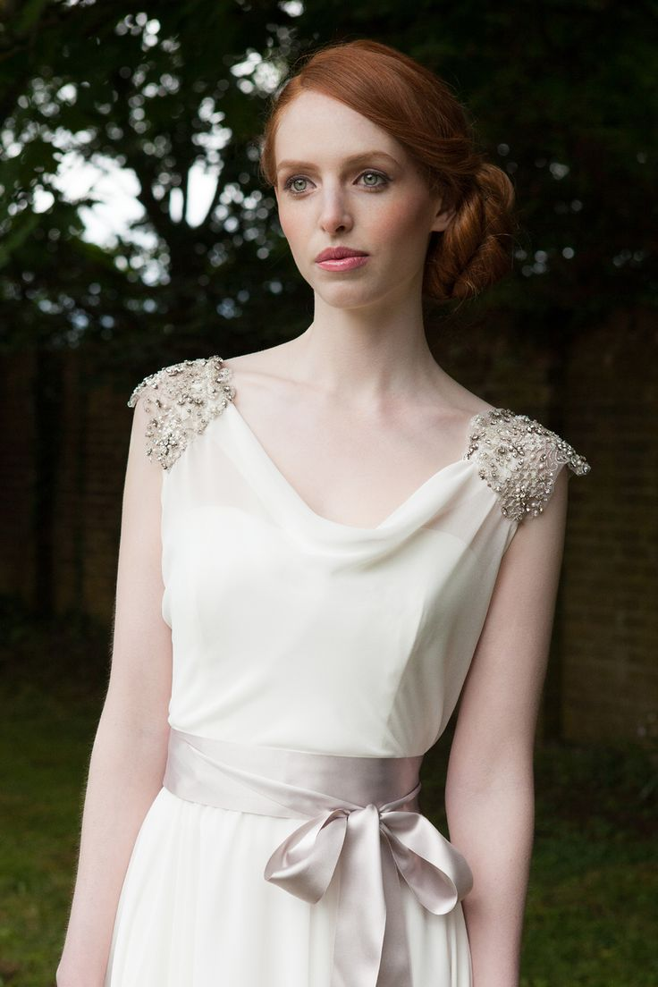Accessories: Elegant Cowl Neck Wedding Dress With Sheath Silhouette, Remarkable Beaded Cowl Neck Wedding Dress with Bowknot