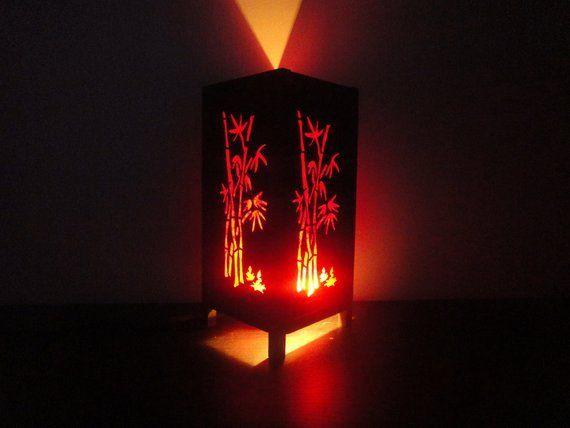 Asian Oriental Red Bamboo Japanese Lamp Zen Bedside Lamp Floor