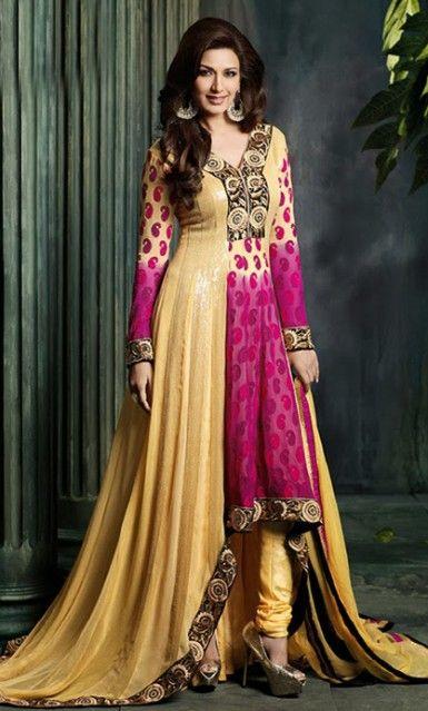 Buy Online Designer Beige and Magenta Anarkali Churidar Kameez. Designer Anarkali Dress / Salwar Kameez set at affordable rate.