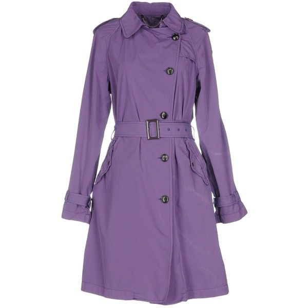 Historic Overcoat (71.875 HUF) ❤ liked on Polyvore featuring outerwear, coats, purple, purple coats, purple trench coat, double breasted coat, over coat and trench coats