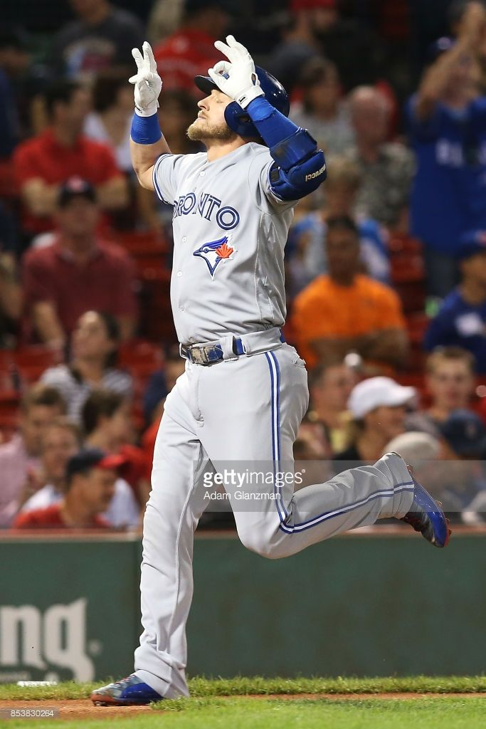 Josh Donaldson #20 of the Toronto Blue Jays reacts as he rounds the bases after hitting a solo home run in the first inning of a game against the Boston Red Sox at Fenway Park on September 25, 2017 in Boston, Massachusetts.