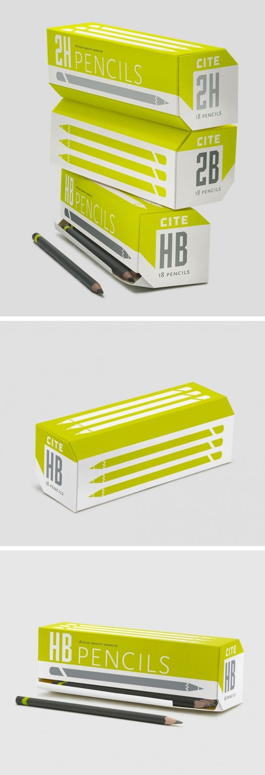 "Cite Pencil Packaging by art student Allison Chambers. ""I utilized the brand colours, typefaces, and form of the logo on the packaging, to maintain integrity across the brand, while avoiding any sense of facade or ornament. The packaging relies on form and function, to maintain credibility with its target market of educated, creative professionals."""