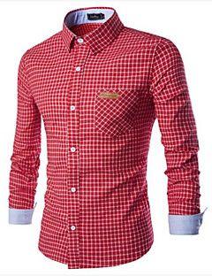 Camisa De los hombres A Cuadros Casual-Algodón-Manga Larga-Azul / Verde / Rosa / Rojo