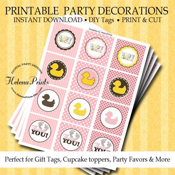 Rubber ducky baby shower decorations Ducky baby by HelenaPrints