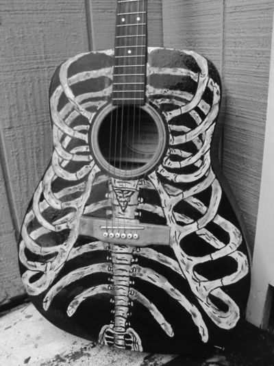 Bare Bones Hand Painted Acoustic Guitar - Rib Cage via Etsy ---
