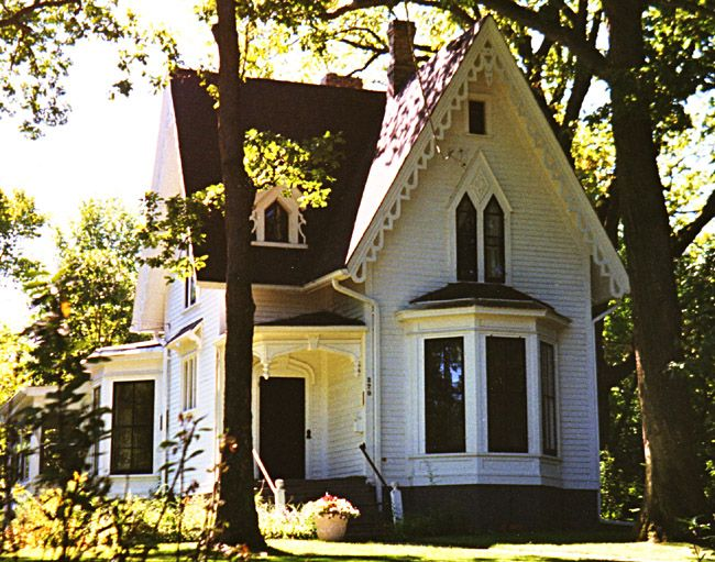 this classic gothic revival cottage is or was next door to house il33 - Steamboat Gothic House Plans