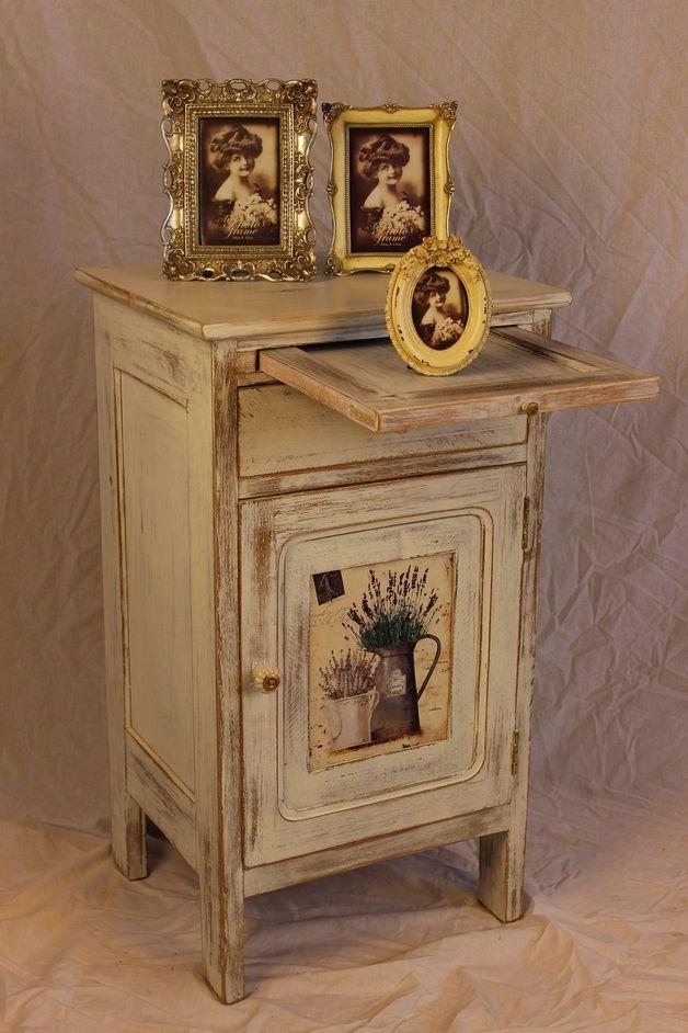 Schränke - Shabby-Chic Nachtschrank Vintage - ein Designerstück von moebel-eigner bei DaWanda