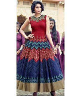 Shiny Red Silk Designer Gown.