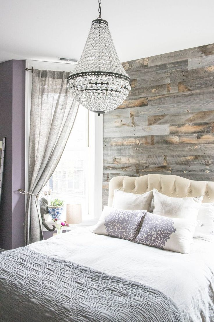 Gorgeous Wicker Park Master with Pottery Barn Chandelier and Reclaimed Weathered Wood Stikwood wall and Farrow and Ball Brassica walls Photo by Jessica Giesey