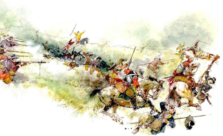 """'The Battle of Sedgemoor' from Victor G. Ambrus' 'Battle panoramas"""""""