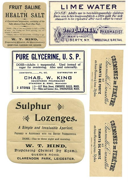 Apothecary labels: lime water, pure glycerine, sulphur lozenges...