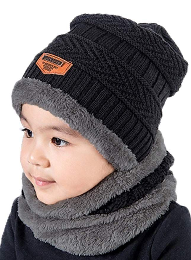 f6e6a41946e T-wilker 2 Pcs Kids Winter Knitted Hats + Scarf Set Soft Stretch Cable Warm