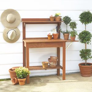 """This potting bench is so cute. If you click on it, it will show you other views..  it comes with a mini """"sink"""" under the table top..  imagine it as a bar area for your porch. Very cute!"""