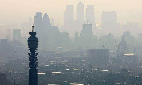 Air pollution hangs over the heart of London in this view of the BT Tower looking towards the city. Photograph: Mike Hewitt/Getty Images