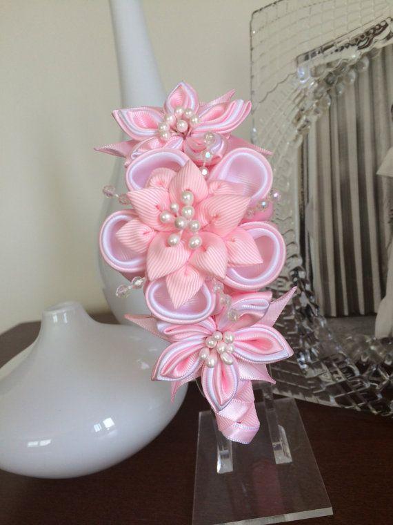 Pink girl headbandgirl headbandKanzashi flower by MagaroCreations