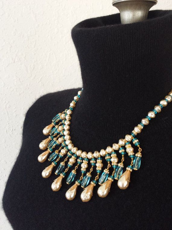 Vintage Miriam Haskell Necklace Glass Bib Necklace Collar Necklace Teal Blue Baroque Pearl GORGEOUS on Etsy, $632.23 AUD