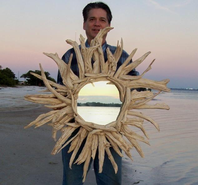 DIY drift wood mirror
