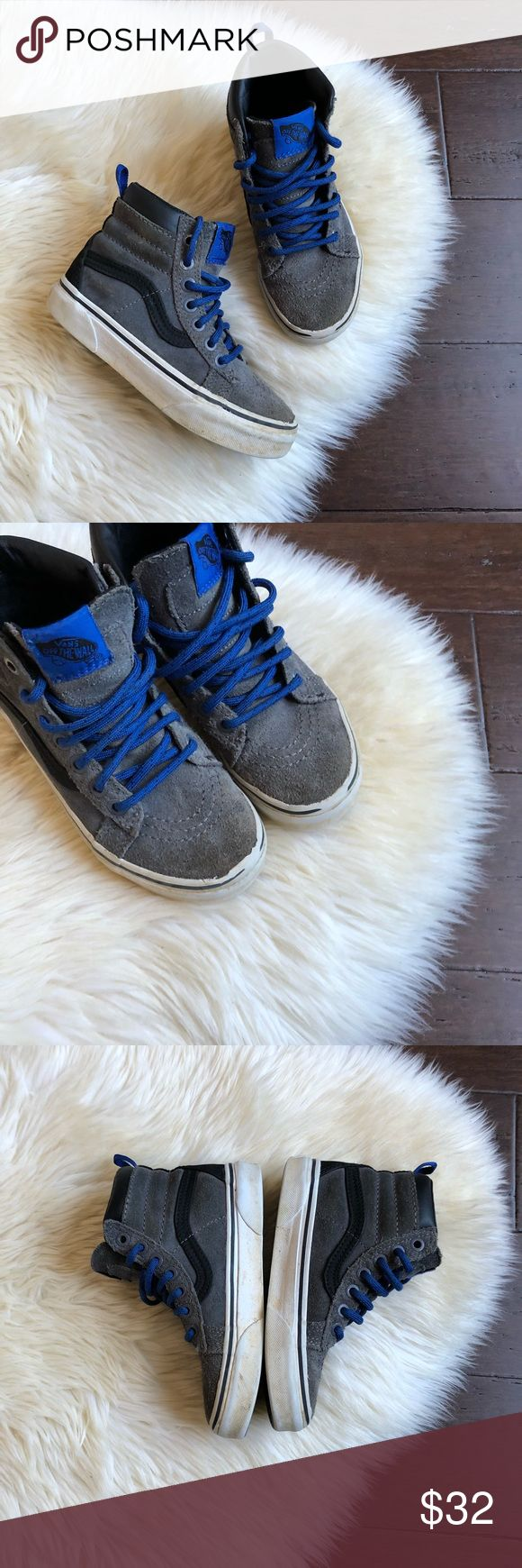 Boys Vans High Top Gray Black Blue Sneakers 13 Boys Vans High Top Gray Black Sneakers   Brand - Vans Size - 13  Color - Blue, Gray & Black  Good condition, they show wear. Shoe strings unraveling on the ends, see pics! Vans Shoes Sneakers