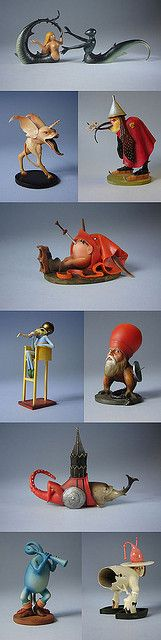 """3-D figures from Hieronymous Bosch's triptych """"The Garden of Earthly Delights""""."""