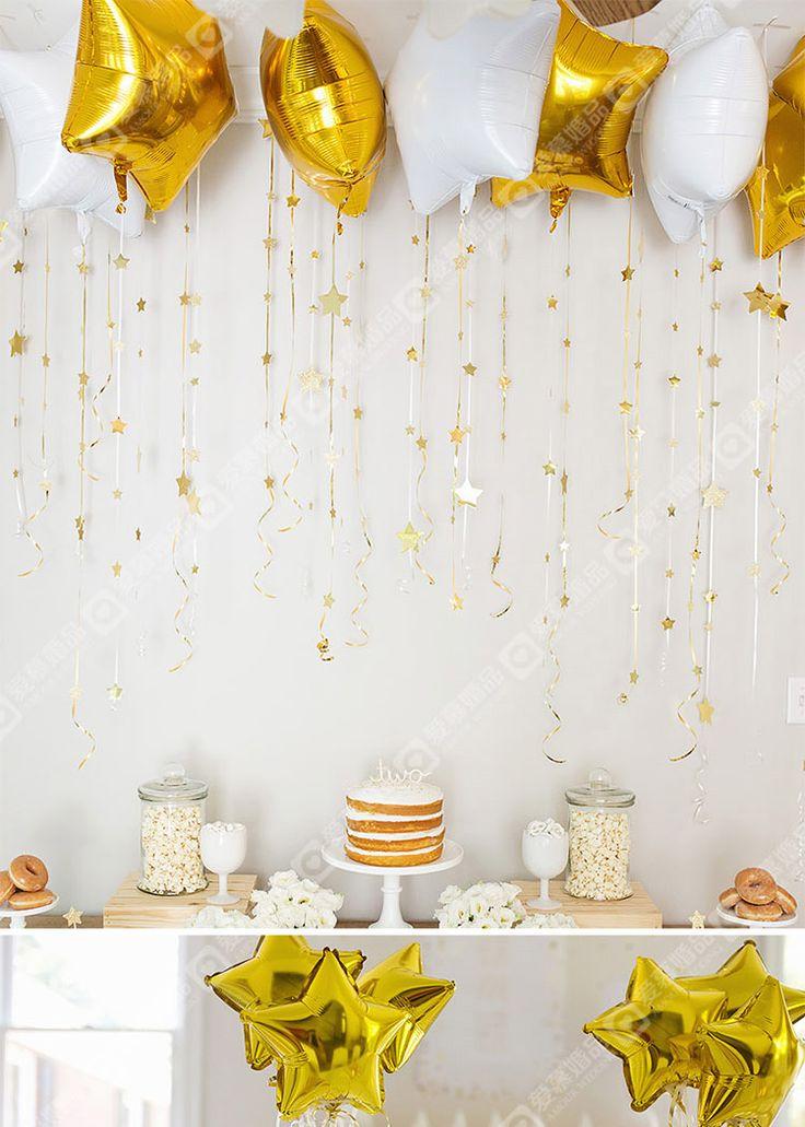 Блеск маленькая звезда вечеринки теме золотые звезды наклейки белый матовый звезда фольгированных шаров банкет-определиться. com дней кошка