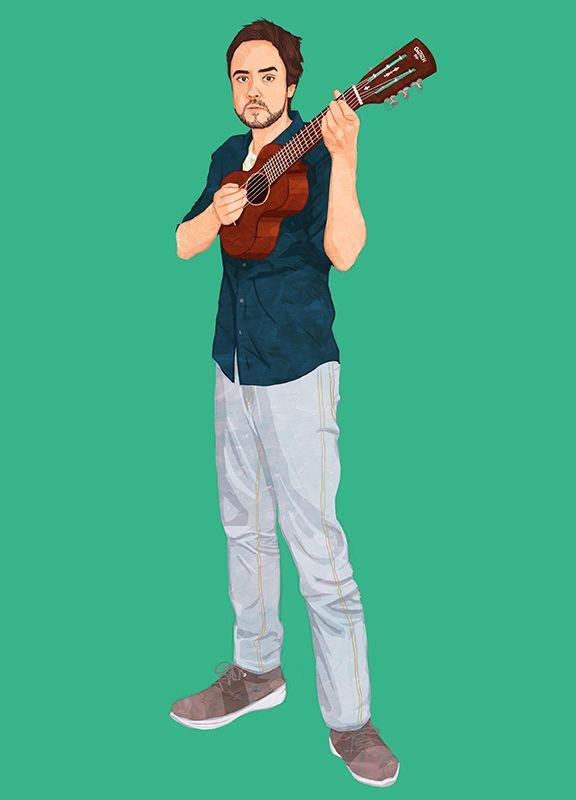 A portrait of an indie musician Andreas Koyama.  #illustration #illustrator #イラスト #イラストレーション #イラストレーター