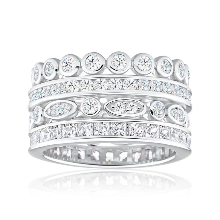 Stacked style ring with sparkling Cubic Zirconia set in Sterling Silver