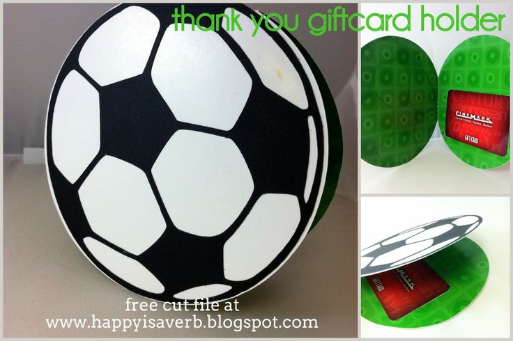 Soccer Thank you card with gift card holder. Free silhouette cut file at www.happyisaverb.blogspot.com