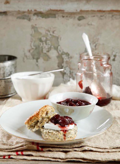 Scones with jam and sour cream