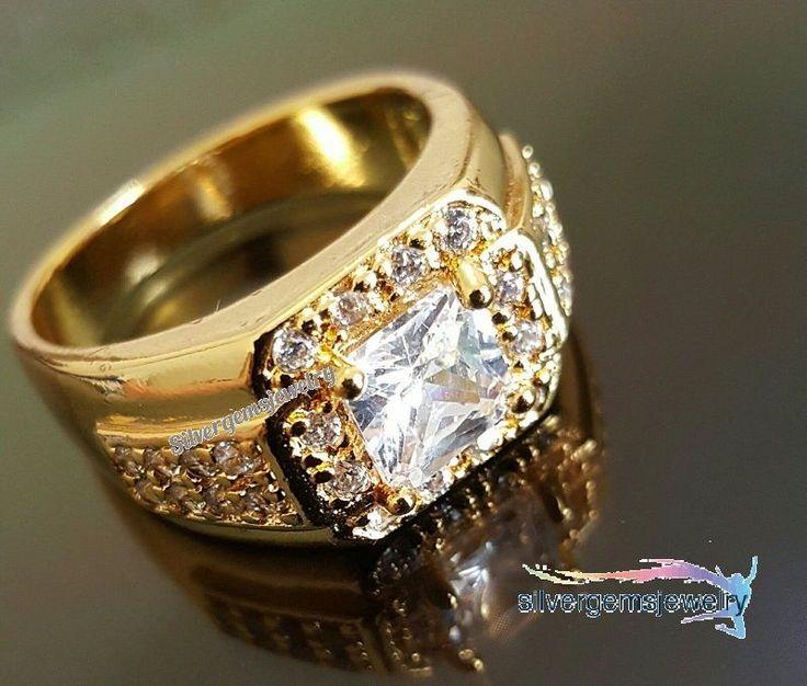 10K Yellow Gold Princess Cut Diamond Mens XL Square Pinky Statement Ring 1.39 Ct #Silvergemsjewery #MensWeddingBandRing