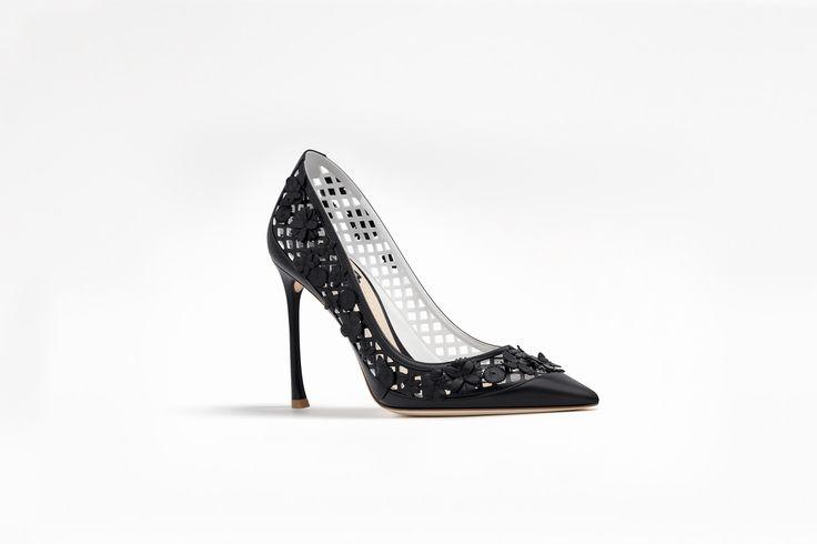 Escarpim em couro de bezerro e couro nappa preto, 10 cm - Dior