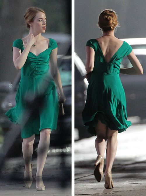 Emma Stone seen filming scenes for 'La La Land' in West Hollywood (August 17, 2015)