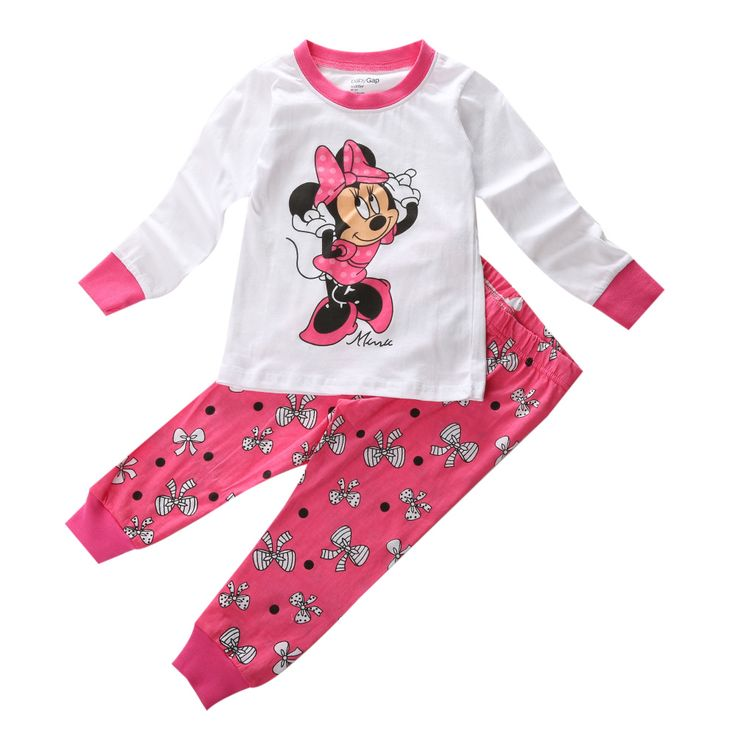 Baby Girl Kid Children Clothing Set Cartoon Minnie Mouse Long Sleeve Cotton Pajamas Sleepwear Nightwear Mickey Size 2T-7 #>=#>=#>=#>=#> Click on the pin to check out discount price, color, size, shipping, etc. Save and like it!