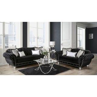 Sleeper Sofas Shop for Furniture of America Renee Formal piece Premium Black Tufted Velvet Sofa Set
