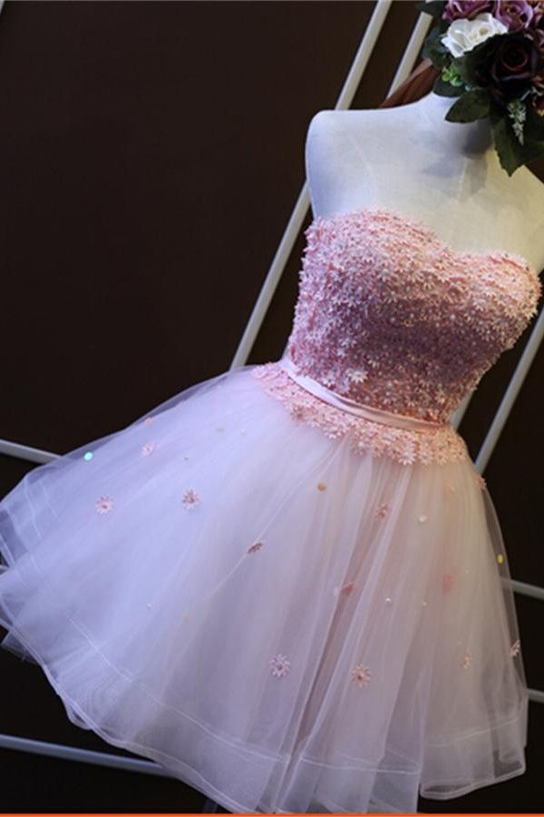 Charming Girly Short Strapless Homecoming Dresses,Pink Gorgeous Graduation