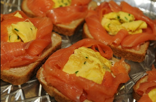 Open face sandwiches - smoked salmon and egg on rye bread. Delicious! www.norwayday.org